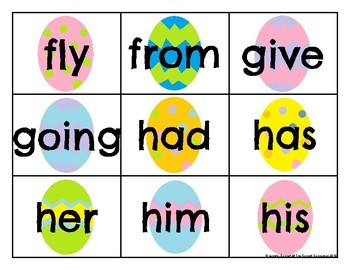 First Grade Sight Word Cards Easter