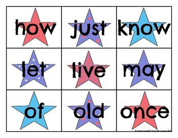 First Grade Sight Word Cards Patriotic Theme