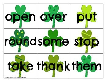 First Grade Sight Word Cards Saint Patrick's Day