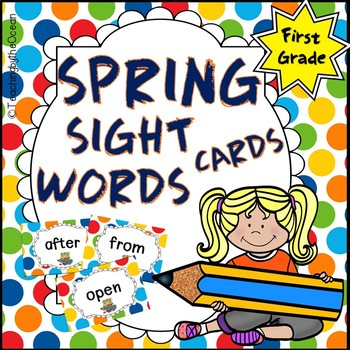 First Grade Sight Word Cards - Spring Themed