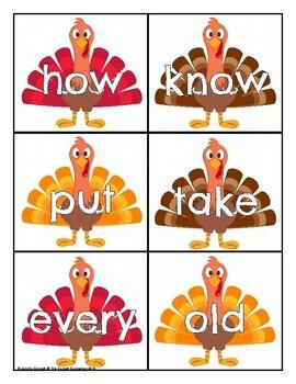 First Grade Sight Word Cards Turkey Theme