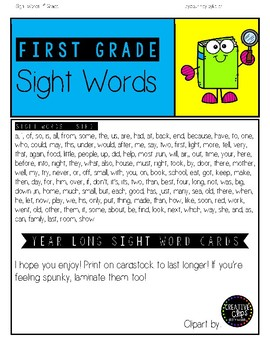 First Grade Sight Word Cards- Year Long