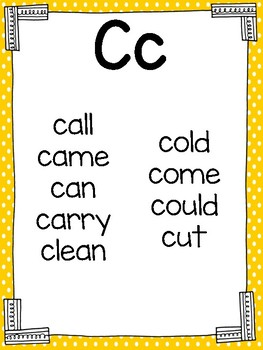 First Grade Sight Word Cards for Word Wall