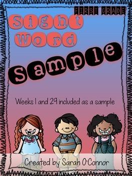 First Grade Sight Word Curriculum Sample