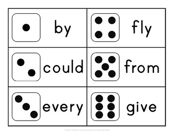 First Grade Sight Word Dice Roll - Ink Friendly Reading Game