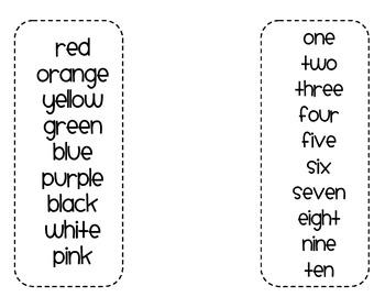 First Grade Sight Word Flashcards (5 words per flashcard)