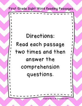 First Grade Sight Word Fluency Passages with Comprehension Questions DORF