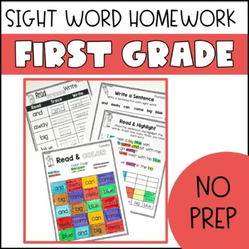 First Grade Sight Word Homework
