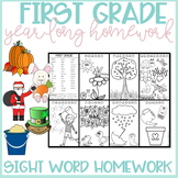 First Grade Sight Word Homework for the Year