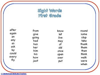 First Grade Sight Word Memory