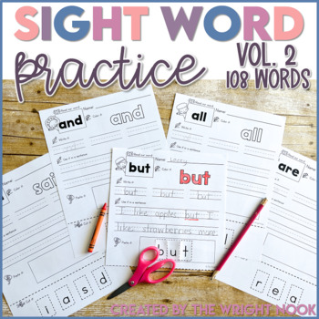 First Grade Sight Word Pack VOLUME 2 (108 Words)
