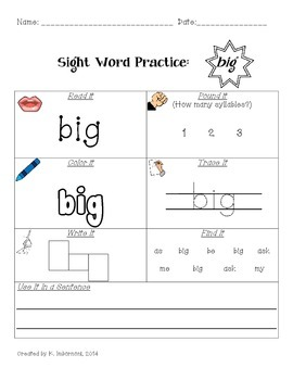 First Grade Sight Word Practice Worksheet Packet #1