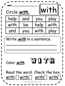 First Grade Sight Word Practice Free