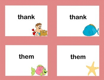First Grade Sight Word Printable Concentration Game-Beach Theme