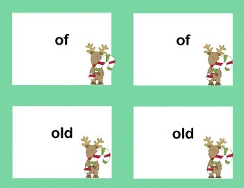 First Grade Sight Word Printable Concentration Game-Christmas Theme