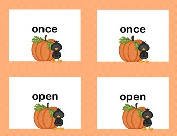 First Grade Sight Word Printable Concentration Game-Fall Theme