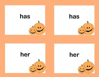 First Grade Sight Word Printable Concentration Game-Halloween Theme