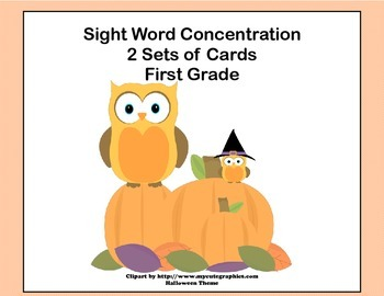 First Grade Sight Word Printable Concentration Game-Hallow