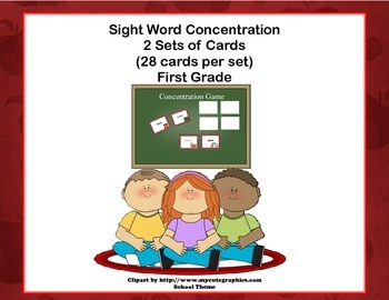 First Grade Sight Word Printable Concentration Game-School Days Theme