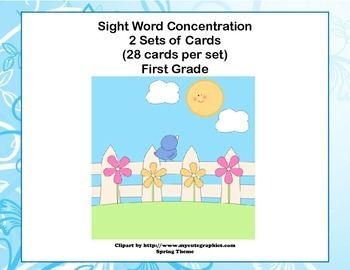First Grade Sight Word Printable Concentration Game-Spring Theme