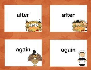 First Grade Sight Word Printable Concentration Game-Thanksgiving Theme