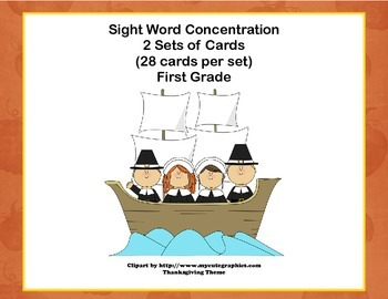 First Grade Sight Word Printable Concentration Game-Thanks