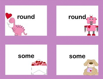 First Grade Sight Word Printable Concentration Game-Valentine's Day Theme