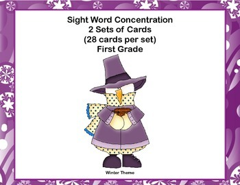 First Grade Sight Word Printable Concentration Game-Winter Theme