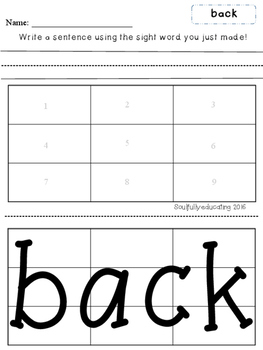 First Grade Sight Word Puzzles