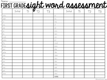 First Grade Sight Word Quarterly Assessment [EDITABLE]