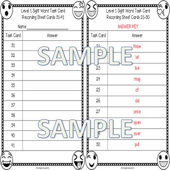 First Grade Sight Word Spelling Emoji Task Cards