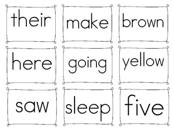 First Grade Sight Word Wall Words