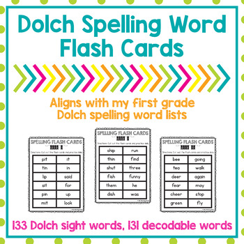 First Grade Dolch Spelling Word List Flash Cards