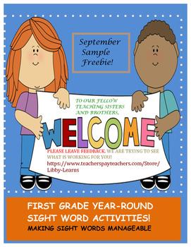 First Grade Sight Words Activity-September