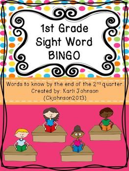 First Grade Sight Words Bingo Second Quarter