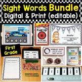 First Grade Sight Words Bundle Editable Printable Pages &