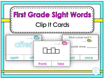 First Grade Sight Words Clip It Cards