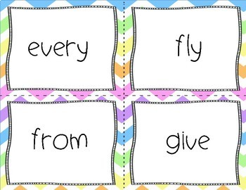First Grade Sight Words Flash Cards Rainbow Chevron