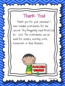 First Grade Sight Words {Fry List 101 - 200} RF.1.3.G
