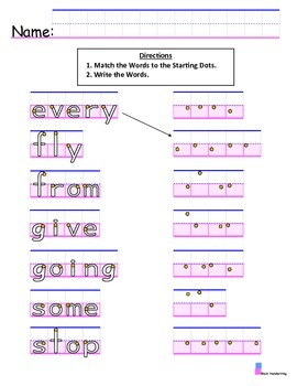 Handwriting with First Grade Sight Words