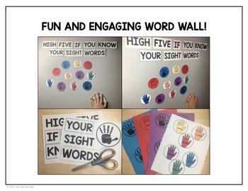 First Grade Sight Words - High-Five Word Wall