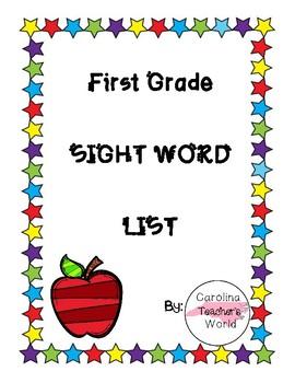 First Grade Sight Word List