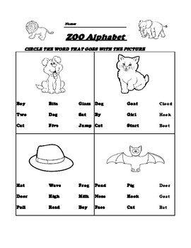 First Grade Sight Words Matching and Rhyming