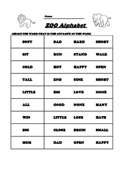 First Grade Sight Words Opposites
