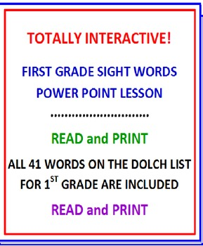 First Grade Sight Words Powerpoint Lesson (Interactive)