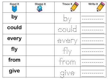 First Grade Sight Words - Read it, Stamp it, Trace it, Write it