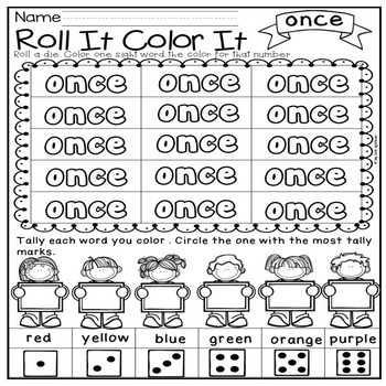 First Grade Sight Words ( Roll It, Color It, Tally It)