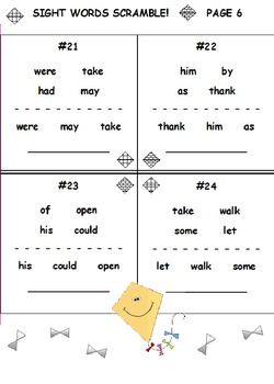 First Grade Sight Words SCRAMBLE (15 Worksheets)