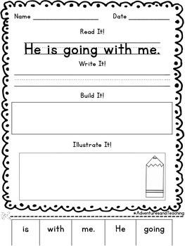 First Grade Sight Words Sentence Builders