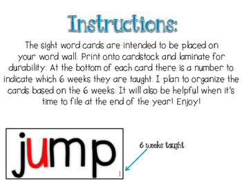 Word Wall Cards {First Grade}